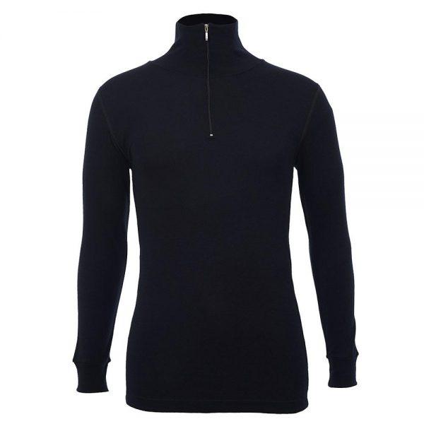 Unisex Long Sleeve Half Zip Front - Black