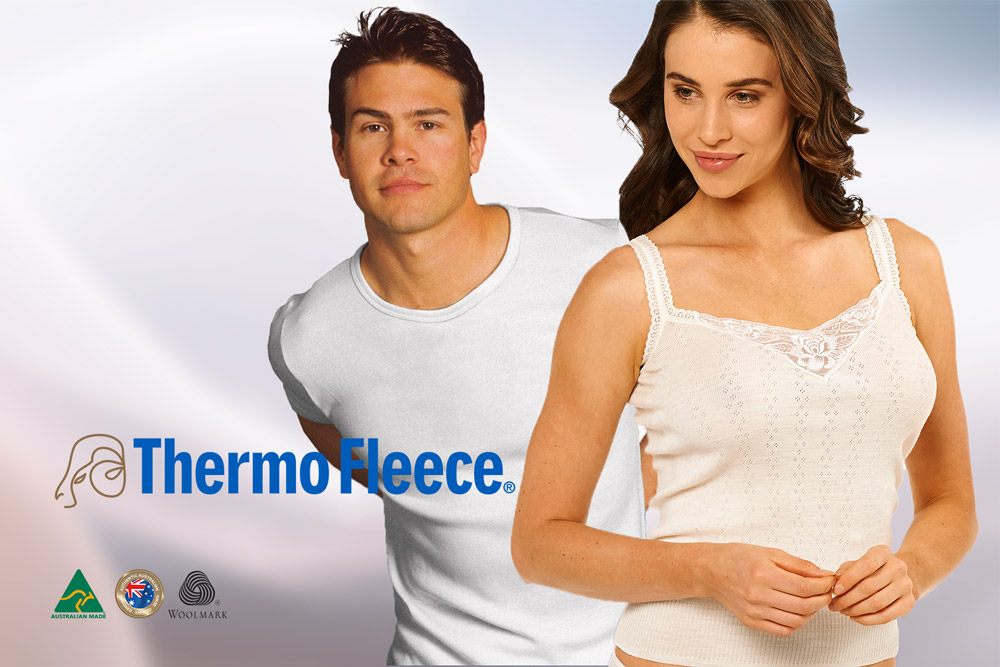 man and lady in thermo fleece merino underwear