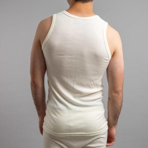 Rear view of Thermo Fleece – Men's Sleeveless Athletic – 100% Merino Wool