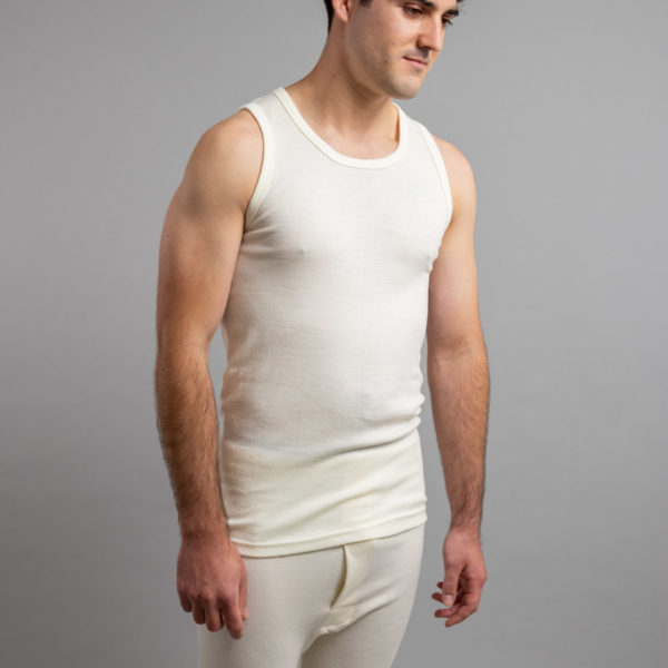 Front side view of Thermo Fleece – Men's Sleeveless Athletic – 100% Merino Wool
