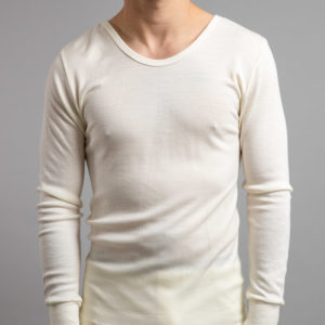 Front view of Thermo Fleece – Men's Long Sleeve Top – 100% Merino Wool