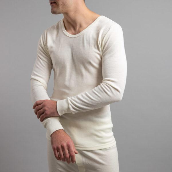 Front view of Thermo Fleece – Men's Long Sleeve Top – 100% Merino Wool