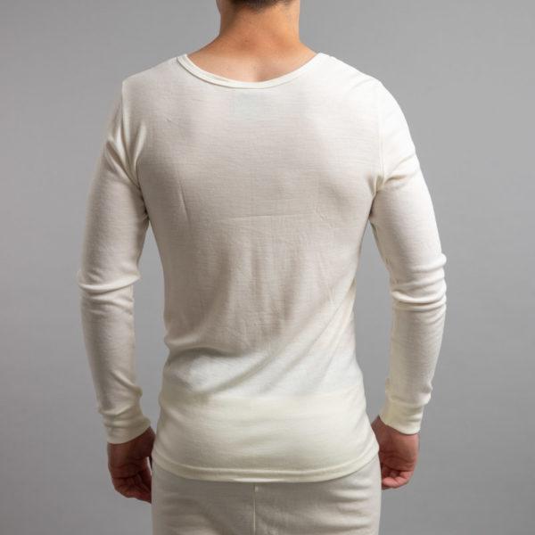 Rear view of Thermo Fleece – Men's Long Sleeve Top – 100% Merino Wool