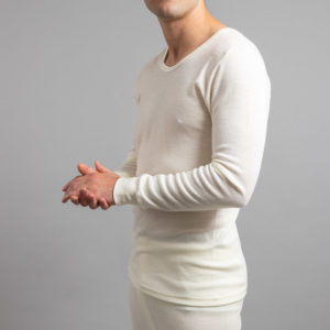 Side view of Thermo Fleece – Men's Long Sleeve Top – 100% Merino Wool
