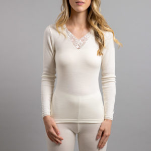 Front view Thermo Fleece – Ladies Long Sleeve – Lace Motif