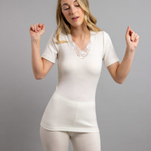 Front view of Thermo Fleece – Ladies Short Sleeve – Lace Motif
