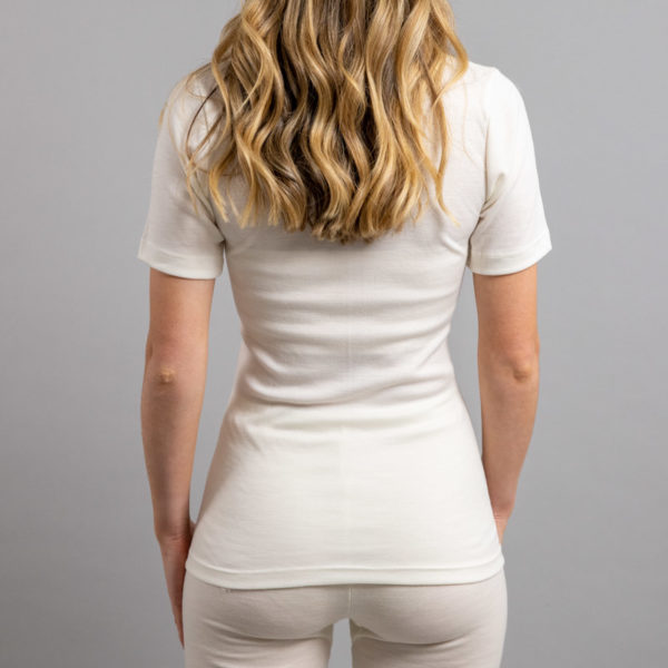 Rear view of Thermo Fleece – Ladies Short Sleeve – Lace Motif