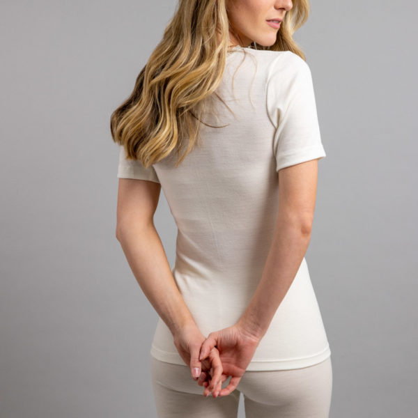 Rear side view of Thermo Fleece – Ladies Short Sleeve – Lace Motif