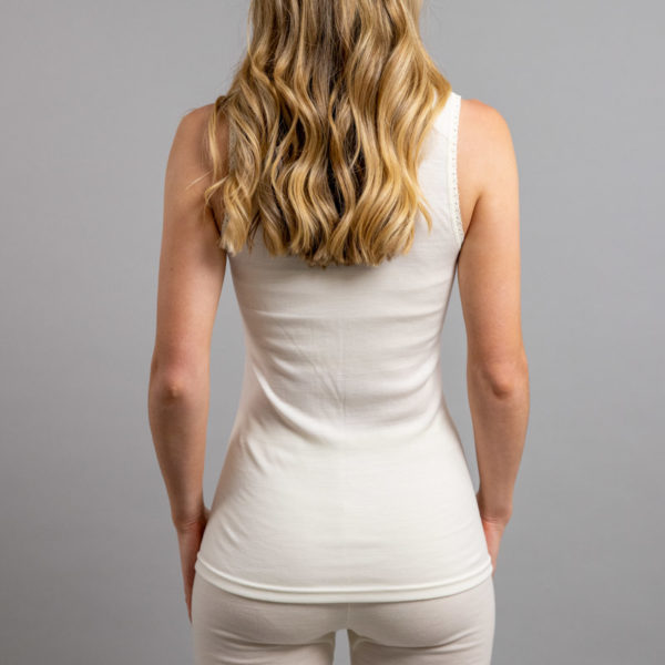 Rear view of Thermo Fleece – Ladies Sleeveless Vest – Lace Motif