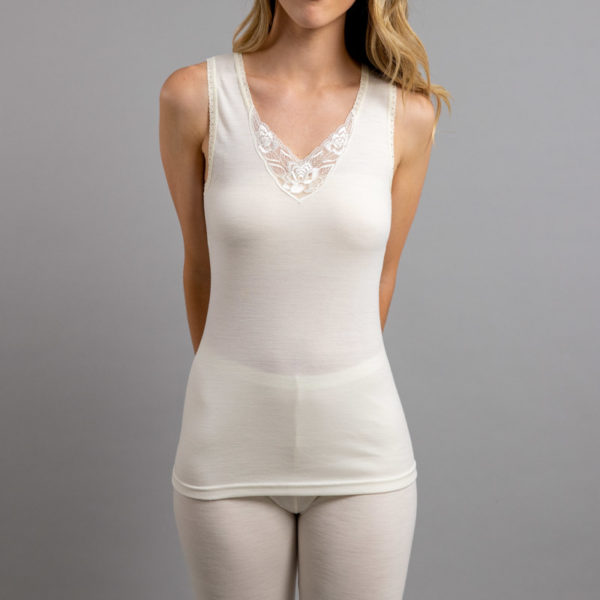 Front view of Thermo Fleece – Ladies Sleeveless Vest – Lace Motif