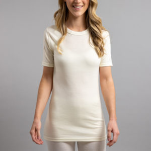 Lady wearing White SP121 Merino Skins – Unisex Short Sleeve Crew Neck