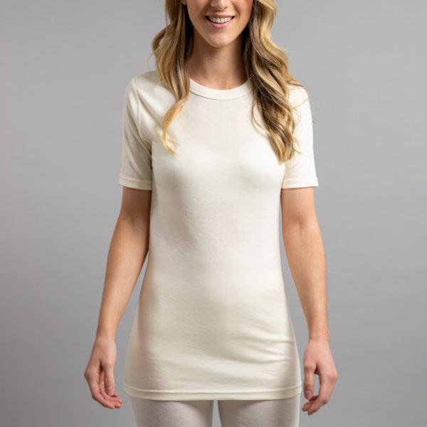 Lady wearing White SP121 Merino Skins – Unisex Short Sleeve Crew Neck