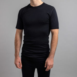 Male wearing SP121B Merino Skins – Unisex Short Sleeve Crew Neck – Black