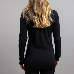 Female wearing Black SP191B Merino Skins – Unisex Long Sleeve Crew Neck