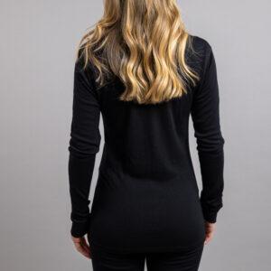 Female wearing Black SP191B Merino Skins – Unisex Long Sleeve Crew Neck