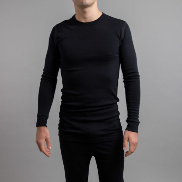 Male wearing Black SP191B Merino Skins – Unisex Long Sleeve Crew Neck