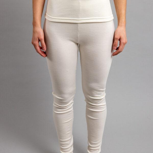 Female wearing White SPLJ Merino Skins – Unisex Long John / Pant