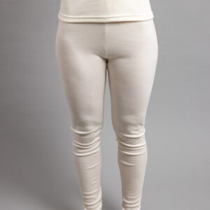 Female wearing White SPLJ Merino Skins – Unisex Long John / Pant