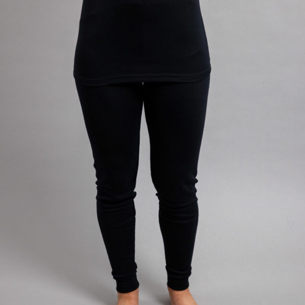 Female wearing Black SPLJB Merino Skins – Unisex Long John / Pant