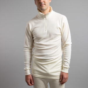 Male wearing White SPZ Merino Skins – Unisex Long Sleeve Half Zip Front