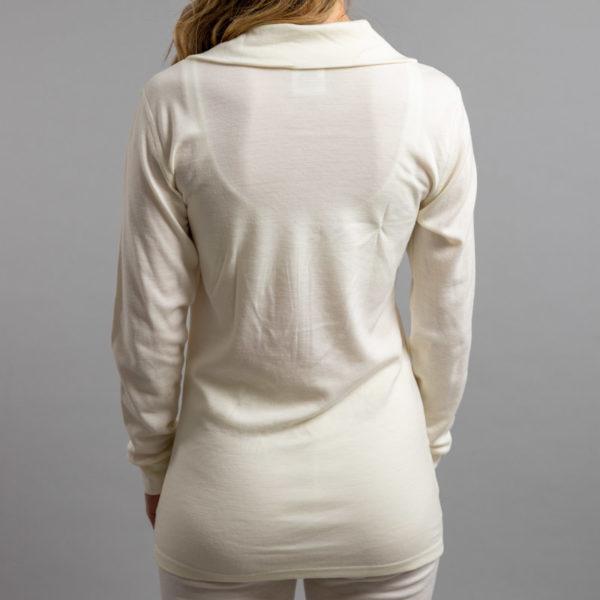 Lady wearing White SPZ Merino Skins – Unisex Long Sleeve Half Zip Front