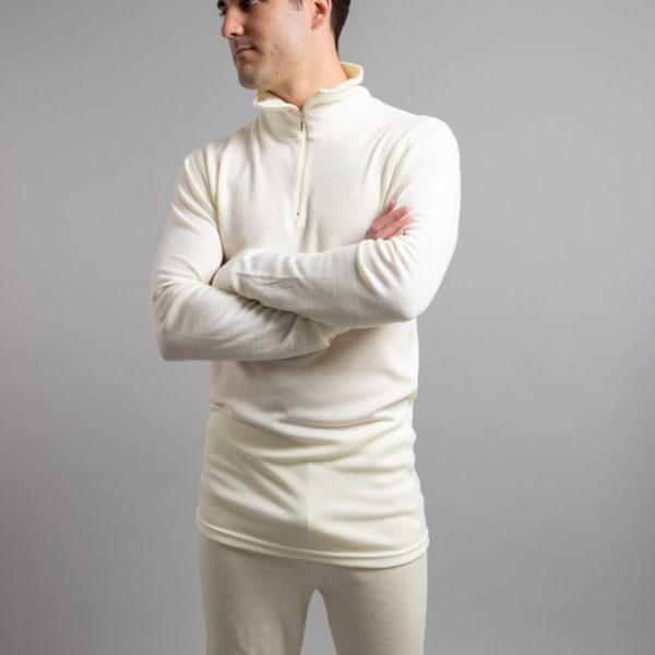 Male wearing White SPZ Merino Skins – Unisex Long Sleeve Half Zip Front