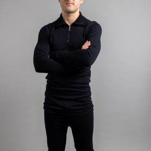 Male wearing Black SPZB Merino Skins – Unisex Long Sleeve Half Zip Front