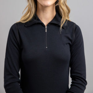 Lady wearing Black SPZB Merino Skins – Unisex Long Sleeve Half Zip Front