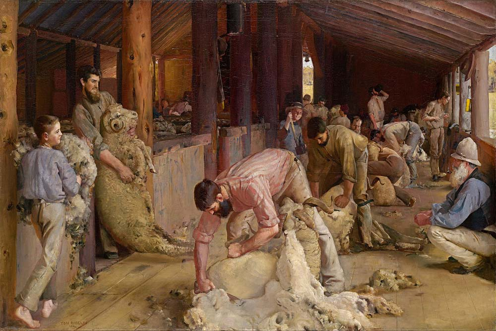 Tom Roberts - shearing the rams painting